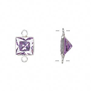 link, sterling silver and cubic zirconia, lavender, 9x9mm faceted square. sold per pkg of 2.