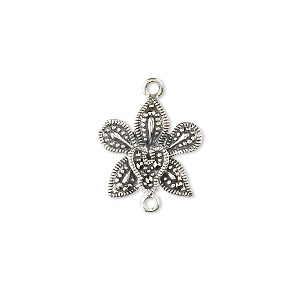 link, sterling silver and marcasite, 15x15mm flower. sold individually.
