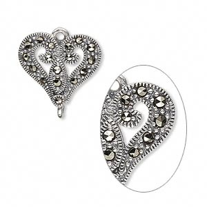 link, sterling silver and marcasite, 17.5x16mm single-sided heart. sold individually.