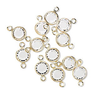 link, swarovski crystals and gold-plated brass, crystal passions, crystal clear, 6.14-6.32mm round (57700), ss29. sold per pkg of 12.
