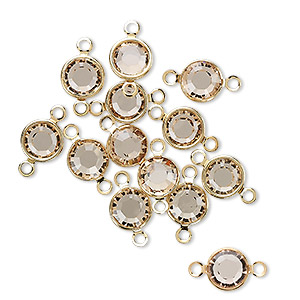 link, swarovski crystals and gold-plated brass, crystal passions, light colorado topaz, 6.14-6.32mm round (57700), ss29. sold per pkg of 48.