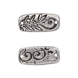 link, tierracast, antiqued pewter (tin-based alloy), 23.5x11mm two-sided rectangle with flora design. sold per pkg of 2.
