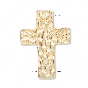 link, vermeil, 15x11mm hammered cross. sold individually.