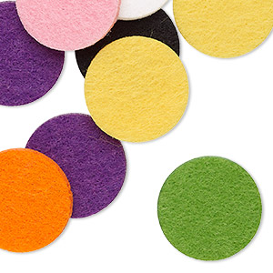 locket insert mix, felt, mixed colors, 22mm flat round. sold per pkg of 20.
