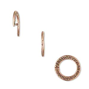 loop lock™, jbb findings, antique copper-plated pewter (tin-based alloy), 13mm double-sided textured flat round. sold per pkg of 4.