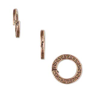 loop lock™, jbb findings, antique copper-plated pewter (tin-based alloy), 15mm double-sided flat round with geometric design and ridged edge. sold per pkg of 4.