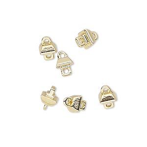loop peg, miracle mount™, gold-finished pewter (zinc-based alloy), 5x5mm square. sold per pkg of 6.