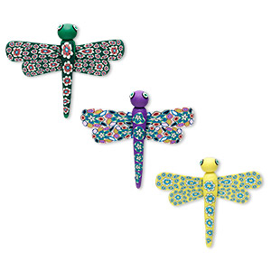magnet mix, polymer clay, multicolored, 54x52mm-58x56mm dragonfly. sold per pkg of 3.