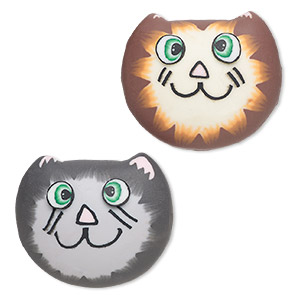 magnet, polymer clay and plastic, assorted multicolored, 30x26mm cat face. sold per pkg of 2.