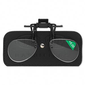 magnifier, magniclips, acrylic and vinyl, black and clear, +5 magnification clip-on style lenses. sold individually.