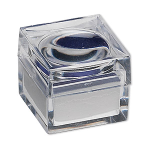 magnifying box, 2x power, plastic and cotton foam, clear / white / royal blue, 1 x 1 x 7/8 inch. sold per pkg of 12.