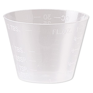 measuring cup, plastic, transparent clear, 47x34mm. sold per pkg of 100.