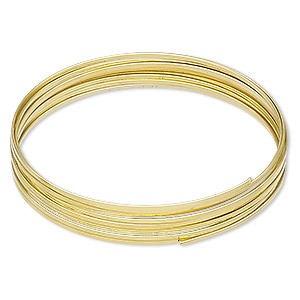 memory wire, beadalon, gold-plated carbon steel, 2-1/4 inch flat bracelet, 1x0.5mm-1.2x0.6mm flat. sold per 0.35-ounce pkg, approximately 12 loops.