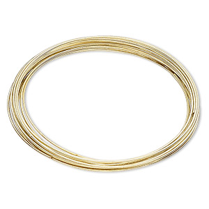 memory wire, gold-finished carbon steel, 2-3/8 inch bracelet, 0.7-0.8mm thick. sold per pkg of 16 loops.