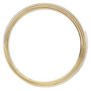 memory wire, gold-plated high carbon steel, 3-5/8 inch necklace, 0.7mm thick. sold per 1-ounce pkg, approximately 29 loops.