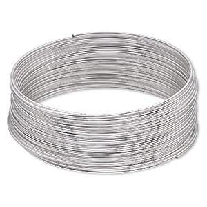 memory wire, imitation rhodium-plated high carbon steel, 2-1/4 inch bracelet, 0.7mm thick. sold per 1-ounce pkg, approximately 46 loops.