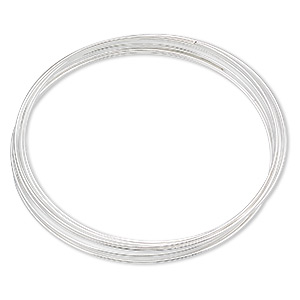 memory wire, silver-plated carbon steel, 1-3/4 inch bracelet, 0.65-0.75mm thick. sold per pkg of 12 loops.