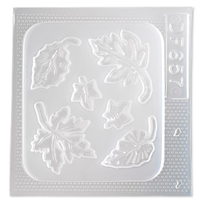 mold, deep flex™, plastic, semitransparent clear, 26x21mm-63x45mm assorted leaf. sold individually.
