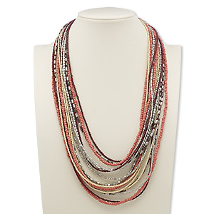 necklace, 16-strand, glass with silver- and gunmetal-plated steel, red / salmon pink / cream, 24 inches with 2-inch extender chain and lobster claw clasp. sold individually.