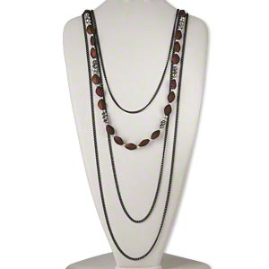 necklace, 4-strand, steel / acrylic with rubberized coating / glass, brown / black / full silver finish, faceted rondelle and diamond, 27 inches with 2-inch extender chain and lobster claw clasp. sold individually.
