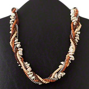 necklace, 5-strand, white agate (dyed) / wood / silver-finished brass / steel, medium and dark brown, twisted, 21 inches with 4-inch extender chain and lobster claw clasp. sold individually.