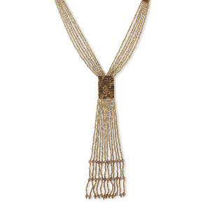 necklace, 6-strand, glass seed bead and thread, antique copper, 28-inch with (12) 6-inch hand-loomed dangles. sold individually.