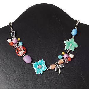 necklace, abalone shell (dyed) / acrylic / glass / glass rhinestone / antique silver-plated brass / pewter (zinc-based alloy) / steel, multicolored, nature theme, 16 inches with 3-inch extender chain and lobster claw clasp. sold individually.
