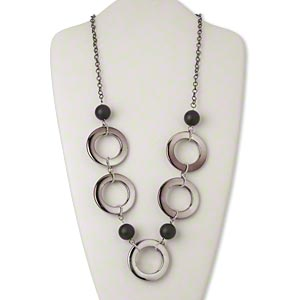 necklace, acrylic / silver-coated plastic / silver- and gunmetal-finished steel, black, 45mm round donut, 28-inch continuous loop. sold individually.