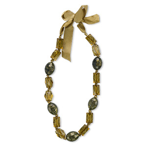 necklace, acrylic and organza ribbon, dark and light olive green, 22x14mm faceted oval, 28x21mm faceted rectangle, 19 inches. sold individually.