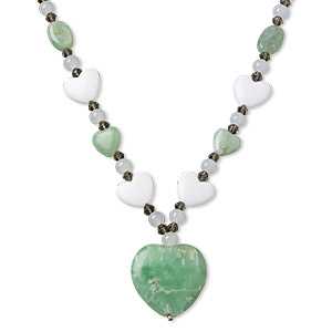 necklace, amazonite (natural) / glass / imitation rhodium-plated steel, green / grey / white, 14x14mm / 17x17mm / 30x30mm heart, 19 inches with 2-inch extender chain and lobster claw clasp. sold individually.