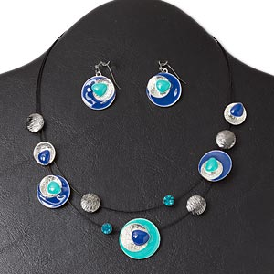 necklace and earring, 2-strand, silver- and gunmetal-finished pewter (zinc-based alloy) and steel / enamel / glass rhinestone, blue / teal / black, flat round, 16-inch necklace with lobster claw clasp and 3-inch extender chain, 1-1/4 inch earring with fishhook earwire. sold per set.