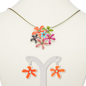 necklace and earring, 3-strand, enamel / glass rhinestone / silver-plated steel / pewter (zinc-based alloy), multicolored, flowers, 18-inch necklace with 2-inch extender chain and lobster claw clasp, 28mm earrings with leverback earwire. sold per set.