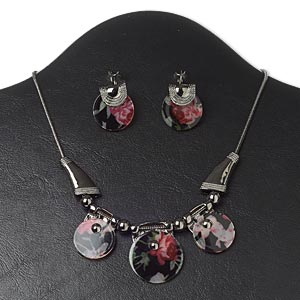 necklace and earring, resin with gunmetal-finished pewter (zinc-based alloy) and steel, multicolored, round with rose design, 16 inches with 3-inch extender chain and lobster claw clasp, 1-1/2 inch earrings with leverback earwire. sold per set.