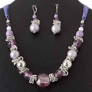 necklace and earring, silver-plated steel and brass / silk ribbon / silver-coated plastic / glass, multi-purple, multi-shape, 18 inches with 2-inch extender chain and lobster claw clasp, 2-1/4 inch earrings with leverback earwire. sold per set.