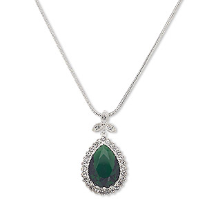 necklace, austrian crystal / glass / silver-plated brass, emerald green and clear, 36x20mm teardrop, 18 inches with 2-inch extender chain and lobster claw clasp. sold individually.