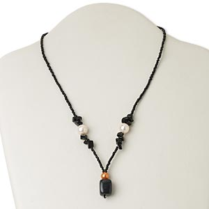 necklace, blackstone (dyed) / glass / silver- or antiqued gold-finished pewter (zinc-based alloy), black / white / orange, 1-inch dangle, 17 inches with lobster claw clasp. sold individually.
