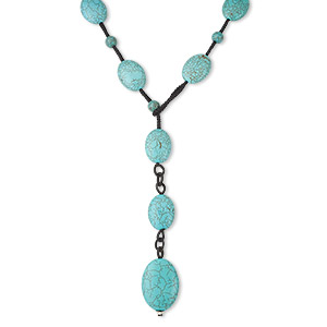 necklace, blue magnesite (dyed / stabilized) on knotted black nylon cord, flat ovals, mohs hardness 3-1/2 to 4, 30-inch lariat. sold individually.