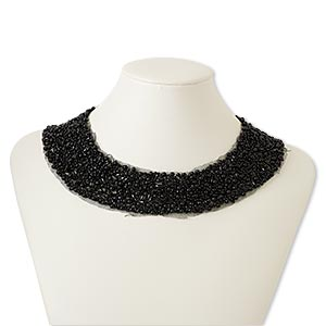 necklace, collar, polyester / glass / plastic / steel, black, 2 inches wide, 16 inches with hook-and-eye clasp. sold individually.
