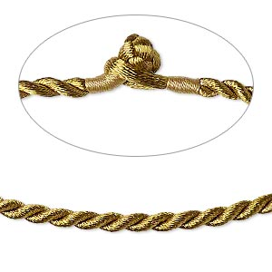 necklace cord, satin-finished nylon, antique gold, 3mm smooth twist, 16 inches with knot closure. sold per pkg of 2.