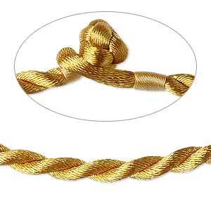 necklace cord, satin-finished nylon, antique gold, 5mm smooth twist, 20 inches with knot closure. sold per pkg of 2.