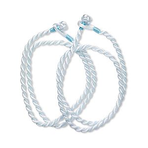 necklace cord, satin-finished nylon, light blue, 3mm smooth twist, 16 inches with knot closure. sold per pkg of 2.