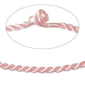 necklace cord, satin-finished nylon, pink, 3mm smooth twist, 18 inches with knot closure. sold per pkg of 2.