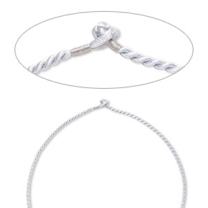 necklace cord, satin-finished nylon, silver, 2.3mm-2.6mm smooth twisted, 20 inches with knot closure. sold per pkg of 2.
