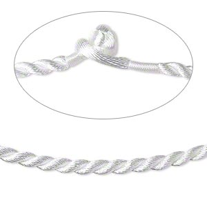 necklace cord, satin-finished nylon, white, 3mm smooth twist, 16 inches with knot closure. sold per pkg of 2.