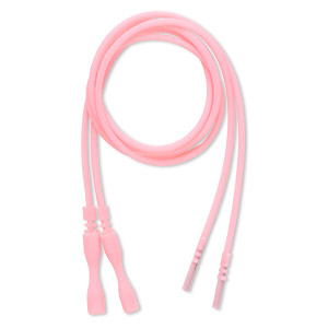 necklace cord, silicone, opaque pink, 2-2.2mm wide, 16 inches with snap closure. sold per pkg of 4.