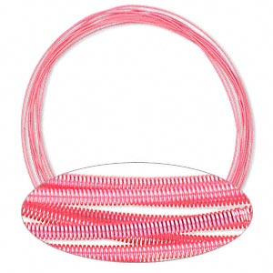 necklace cord, steel, hot pink, 1.3mm coil, 18 inches with twist-in ends. sold per pkg of 10.