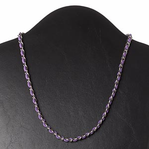 necklace, faux suede / imitation rhodium-plated steel / silver-finished brass, light purple, 6mm wide, 18 inches with 2-inch extender chain and lobster claw clasp. sold individually.