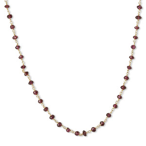 necklace, garnet (natural) and gold-finished sterling silver, 3.5-4mm hand-cut faceted rondelle, 18 inches with s-hook clasp. sold individually.