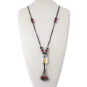 necklace, glass / silver-coated plastic / plastic / silver-finished steel / nylon cord, multicolored, 33x24mm faceted rectangle with dangle, 30-34 inches with lobster claw clasp and 2-inch extender chain. sold individually.