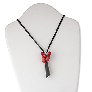 necklace, glass / steel / imitation suede, red / silver / black, 60x16mm faceted hexagon drop with cluster of 12x9mm rondelles, 32-40 inch adjustable. sold individually.
